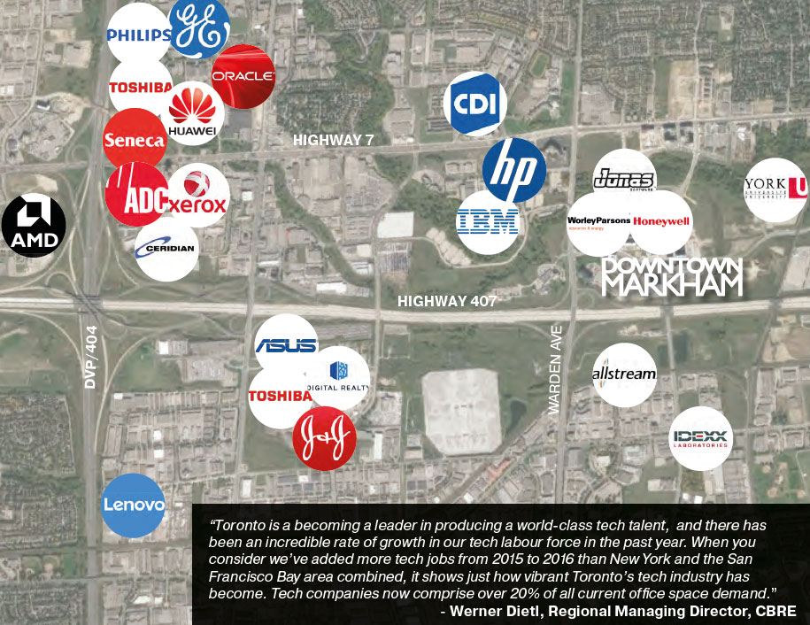 Major Tech Companies Near Downtown Markham