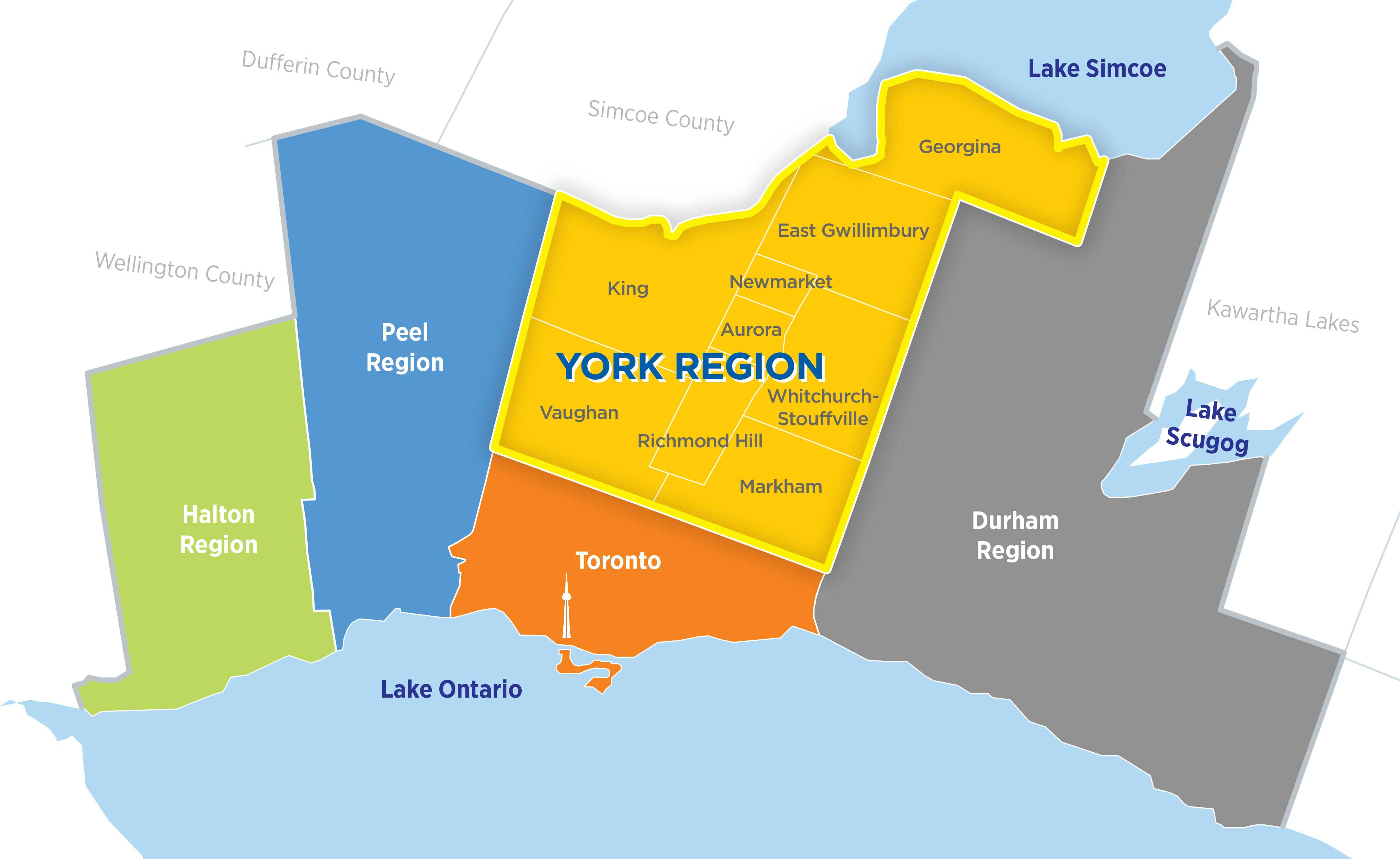 York Region in Greater Toronto Area Map