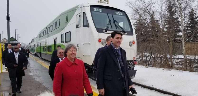GO Train and Justin Trudeau