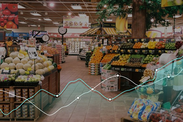 AI graph over the inside of a grocery store