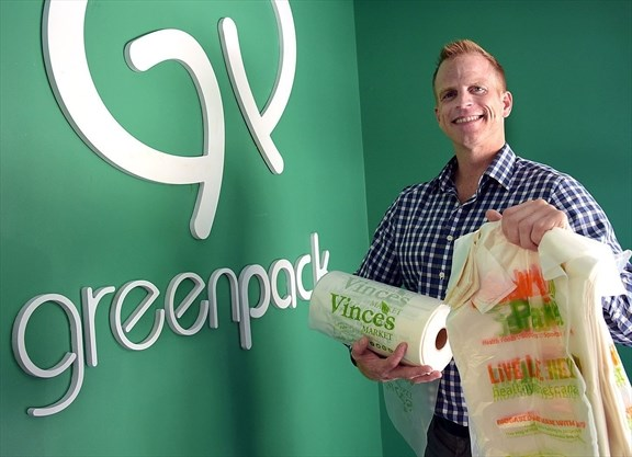 EO of Greenpack Bio Andres Gutierrez holds up Vince's Market plastic bags that are a biobased and biodegradable, an alternative to conventional plastic. August 13, 2019 - Susie Kockerscheidt/Torstar