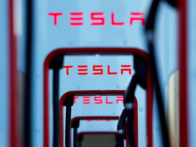 Tesla super chargers shown in Mojave, California. Mike Blake/Reuters files