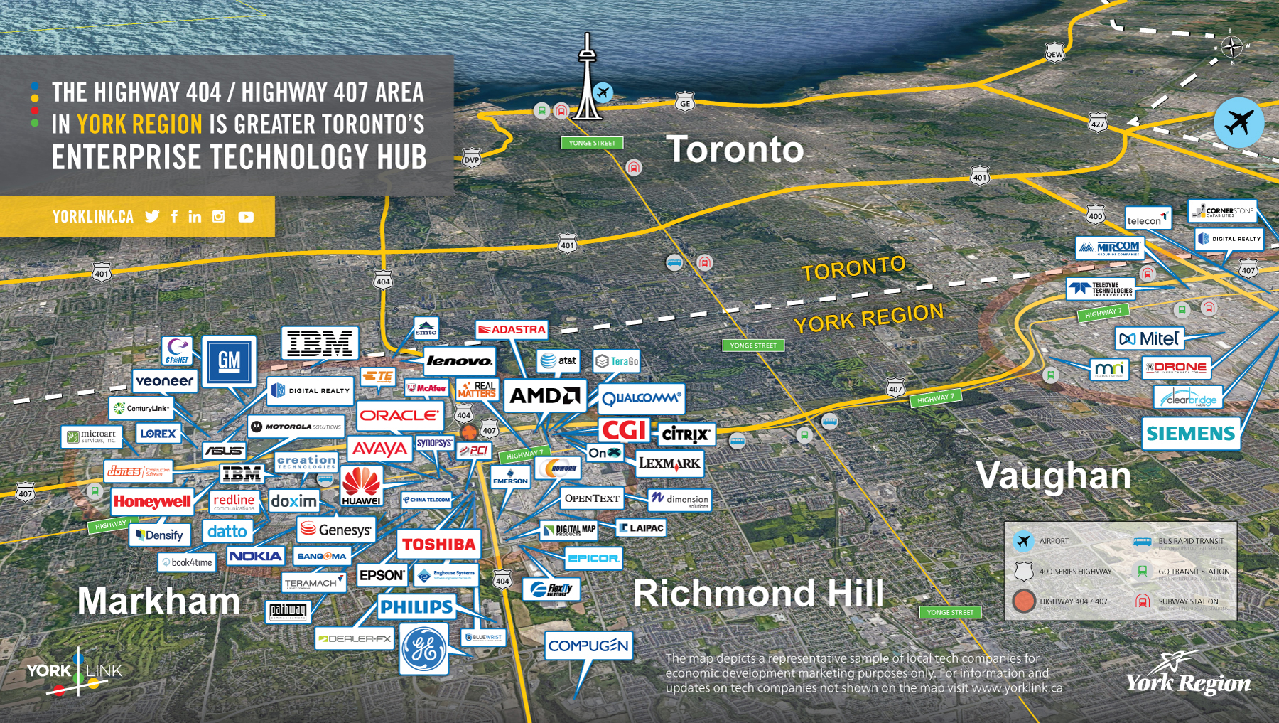Map with logos of select tech companies in York Region