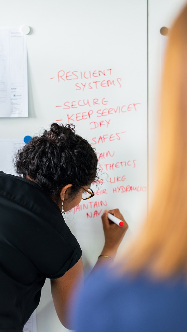 Lady writing on white board
