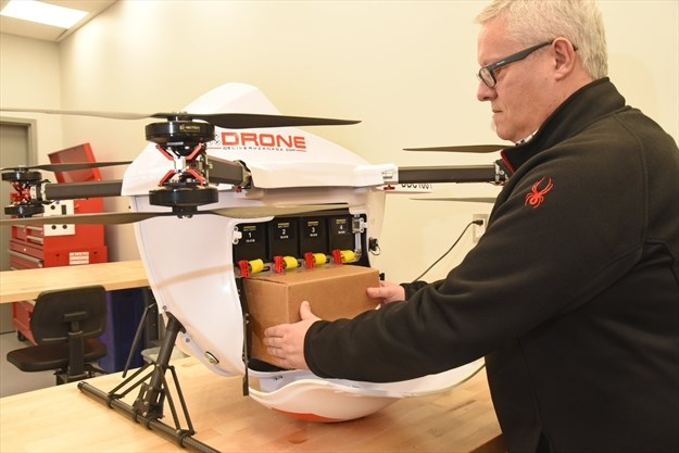 Supplies placed into a drone