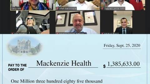 funding cheque for Mackenzie Health