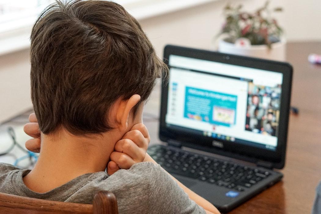 Kid working online