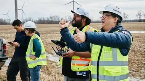 drones testing wind turbines