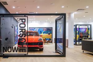 Porsche in window display