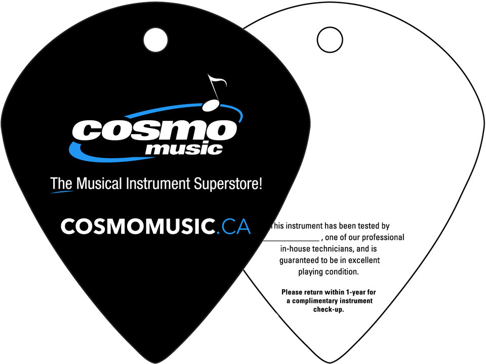 Cosmo Music url on a guitar pick
