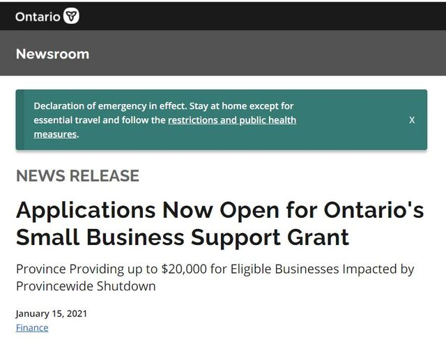Ontario government web page