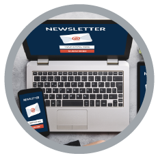 image of a newsletter shown on a laptop
