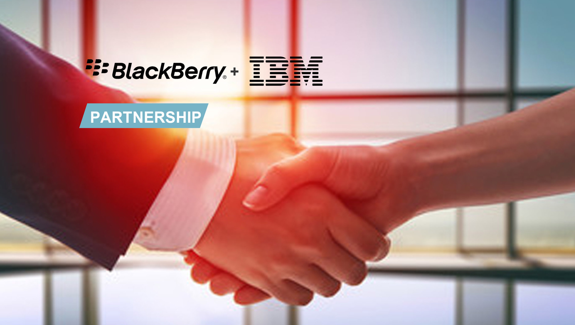 Handshake with IBM and Blackberry logos