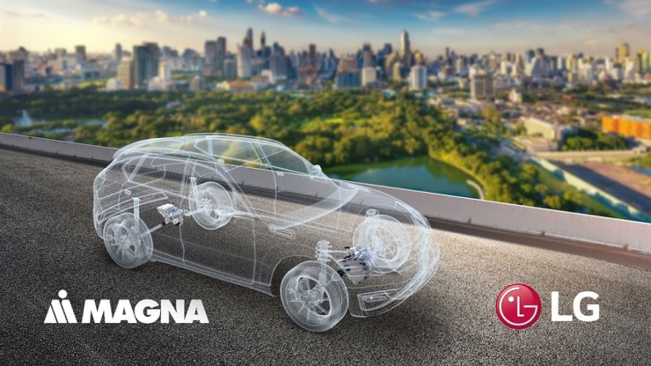Magna and LG logo on image of city skyline with computer designed car