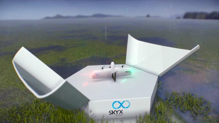SkyX drone in flight
