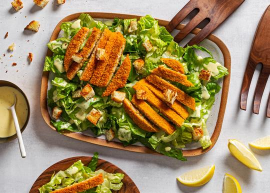 Salad with plant-based Zoglo meatless cutlet